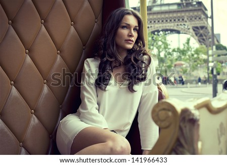 Fashion shoot of attractive brunette with amazing eyes - stock photo
