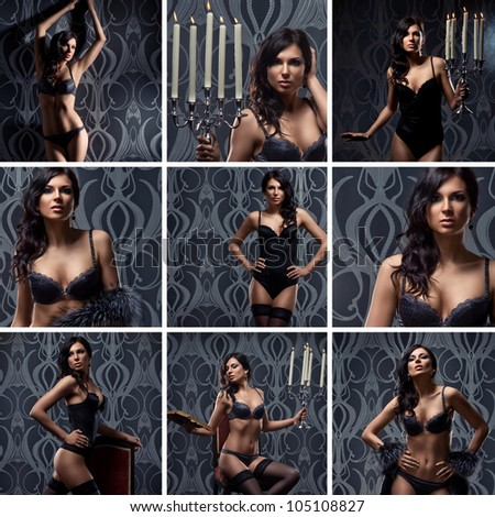 Fashion shoots of young sexy woman in lingerie - stock photo