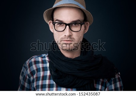 fashion shot of a young man, he is now a professional model - colorized photo - stock photo