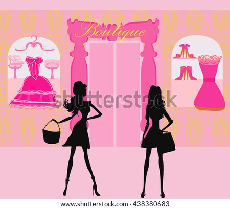 fashion silhouettes girls Shopping in the city - stock photo