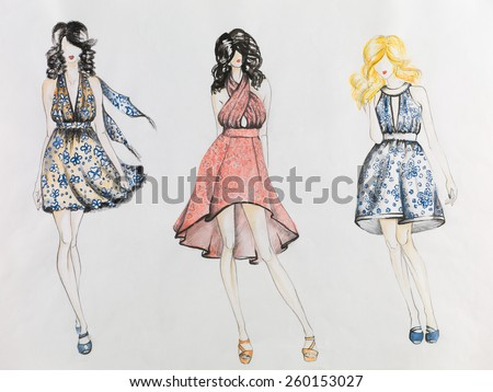 fashion sketch with models  wearing colored dresses with flower patterns - stock photo