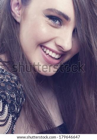 Fashion smilin girl with  make- up. - stock photo