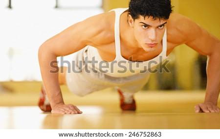 fashion sport man, fitness muscle - stock photo