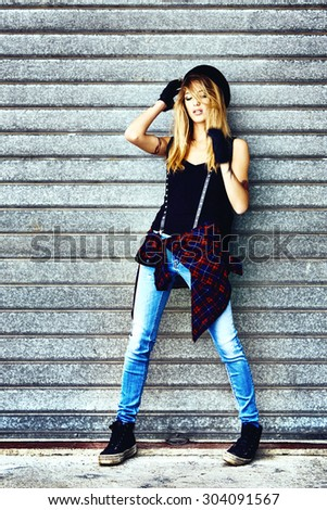 Fashion street portrait of young sexy woman - stock photo