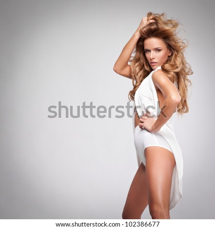 fashion style photo of beautiful blonde woman - stock photo