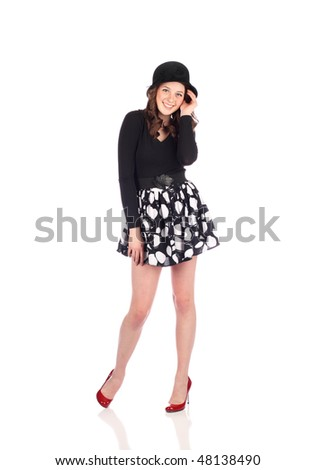 Fashion teen with red heels - stock photo