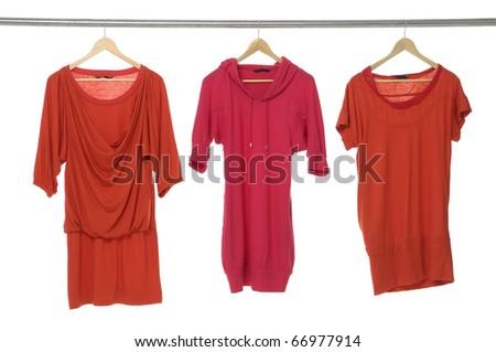 Fashion three clothing rack display - stock photo