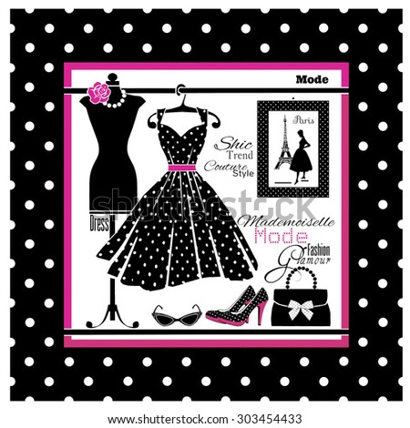 Fashion trends. Glamour style. Polka dot. - stock photo