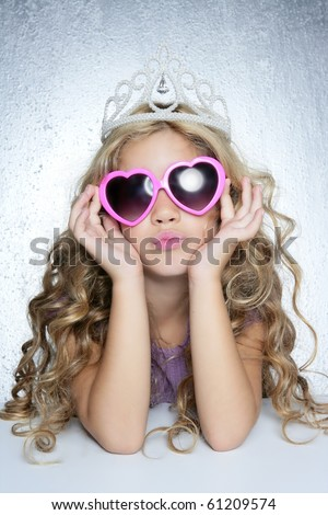 fashion victim little princess girl humor portrait crown and heart shape glasses - stock photo