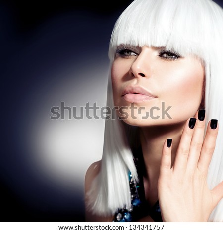 Fashion Vogue Style Model Portrait. Beauty Woman with White Hair and Black Nails - stock photo