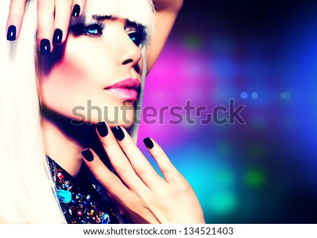 Fashion Vogue Style Model Portrait. Beauty Woman with White Hair and Black Nails. Disco Party Girl Portrait. Purple Makeup. Abstract Lights Background - stock photo