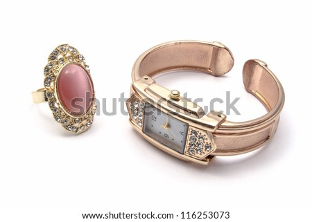 Fashion Watch and Ring isolated on white background - stock photo