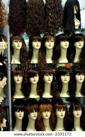 fashion wigs - stock photo