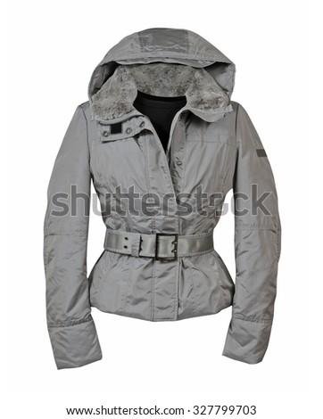 fashion winter jacket  isolated on white background - stock photo