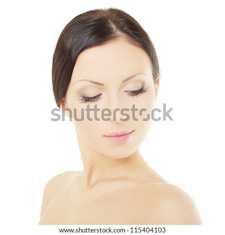 Fashion woman - beautiful face with natural makeup - stock photo