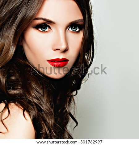 Fashion Woman Closeup Portrait. Makeup and Wave Hairstyle - stock photo
