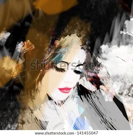 Fashion woman. Hand painted illustration. - stock photo
