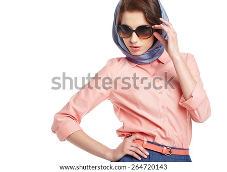 Fashion woman in sunglasses and scarf. studio shot - stock photo