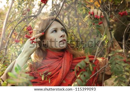 Fashion woman on autumn background - stock photo