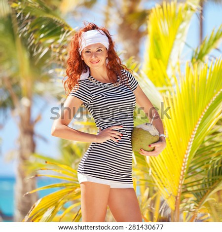 Fashion woman on the beach background - stock photo