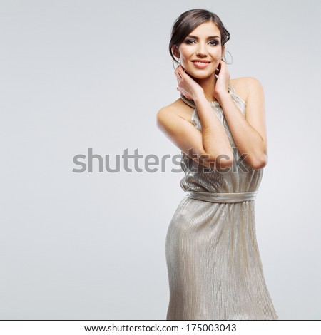 Fashion woman portrait. Beautiful model. Studio isolated, gray background. - stock photo