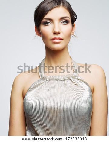 Fashion woman portrait. Female young model. Studio isolated , gray background . Fashion model studio poses. - stock photo