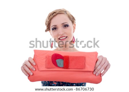 fashion woman presenting or giving you a big purse - stock photo