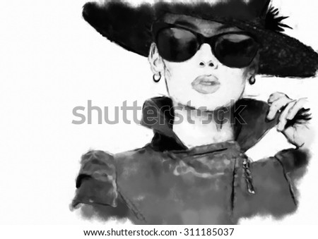 Fashion woman's face. Abstract print for T-shirt - stock photo
