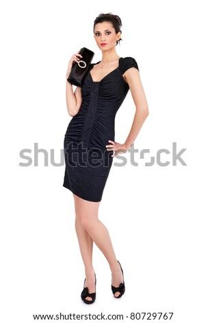 fashion woman wearing elegant costal dress, isolated on white background - stock photo