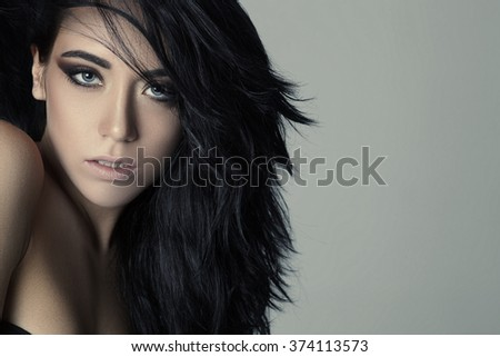 Fashion woman with beautiful face and hair. Skin care concept. - stock photo