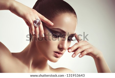 Fashion woman with jewelry ring. Fashion portrait - stock photo