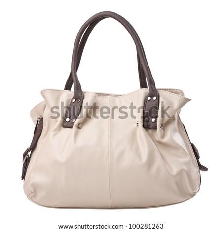 Fashion women bag isolated over white - stock photo
