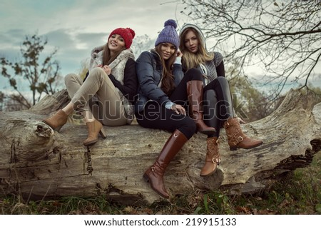 Fashion women outdoor - stock photo