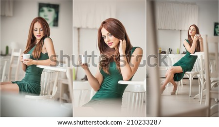 Fashionable attractive young woman in green dress sitting in restaurant. Beautiful redhead posing in elegant scenery with a cup of coffee in her hand. Pretty female on high heels drinking coffee. - stock photo