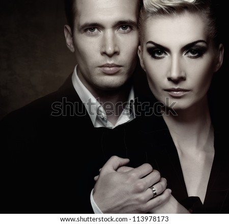 Fashionable couple - stock photo