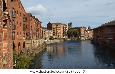 Fashionable flats along the River Aire in Leeds - stock photo