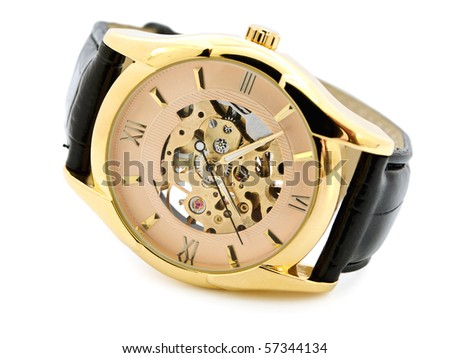 Fashionable golden skeleton men clock over white background - stock photo