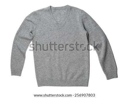 Fashionable gray wool sweater. Isolate on white. - stock photo