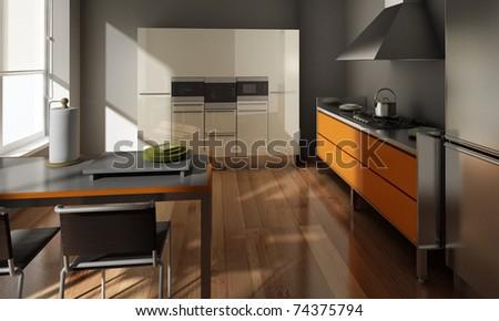 fashionable kitchen Interior rendering - stock photo