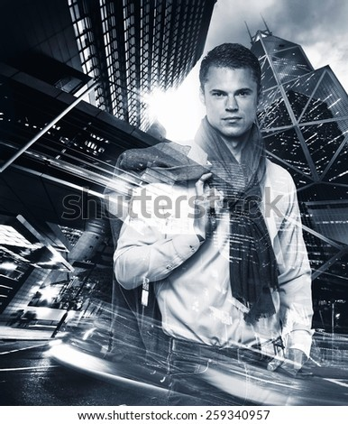 Fashionable man over modern city at night double exposure  - stock photo