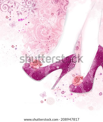 Fashionable Pink high heel women shoes on pink background with flowers. Fashion background.Shopping - stock photo