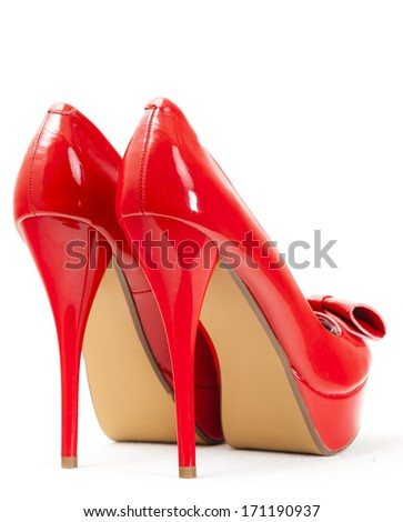 fashionable platform red pumps - stock photo