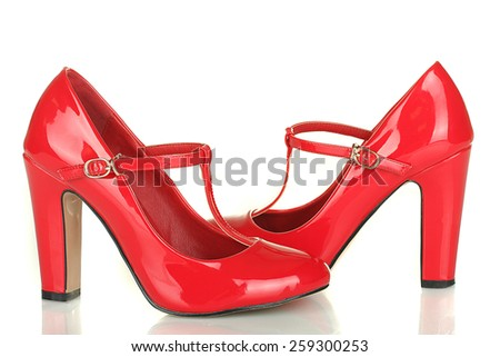 Fashionable red woman shoes isolated on white background - stock photo