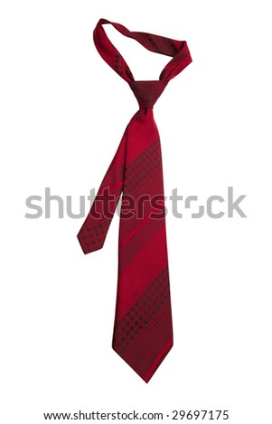 Fashionable striped necktie on a white background - stock photo