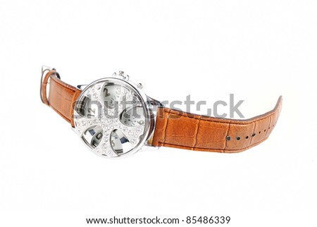 fashionable watch isolated - stock photo