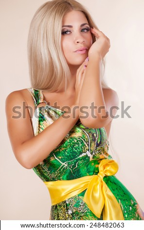 Fashionable woman summer portrait, girl in summer dress fashion vogue style, beauty model makeup and long blond hair, studio, isolated in studio. series.  - stock photo