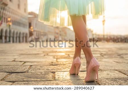 Fashionable woman wearing high heel shoes - stock photo