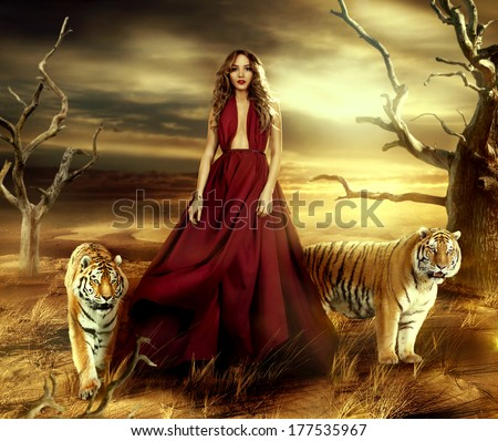 i pressed a rose against the angel's teeth // zalea Stock-photo-fashionable-young-attractive-and-sensuality-woman-in-the-desert-in-long-red-dress-with-tigers-near-177535967