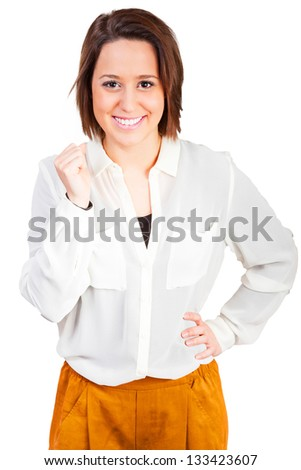 Fashionable young woman is smiling - stock photo