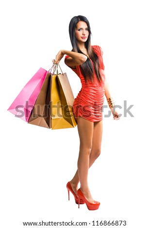 Fashionable young woman with shopping bags. - stock photo